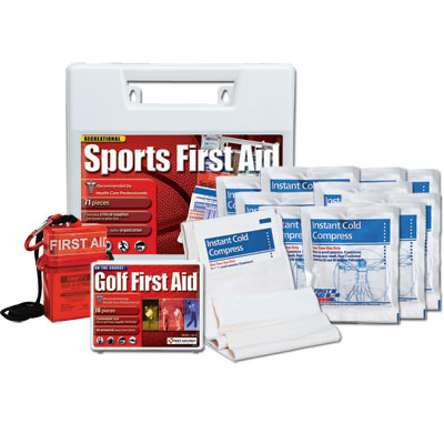 SPORTS FIRST AID & MEDICINE Injuries are part of all sports games and anything requiring any physical activity. Being a dedicated athlete, coach or even parent, you want to make sure that these injuries can be taken care of at these events and hopefully the athlete can get back into the game. To do that, you want to have the best sports medicine, first aid supplies and kits to accomplish this quickly and easily. Our Sport First Aid kits, bags and supplies are some of the most popular and trusted brands out on the market. We have fully stocked Coaches and Team Sports First Aid Kits and supplies from First Aid Only and Lifeline. You add in some top quality ice compresses from Urgent First Aid and sport themed bandages from Sports Shield and you and your team are set to treat sprains, strains, scrapes, bumps and bruises!