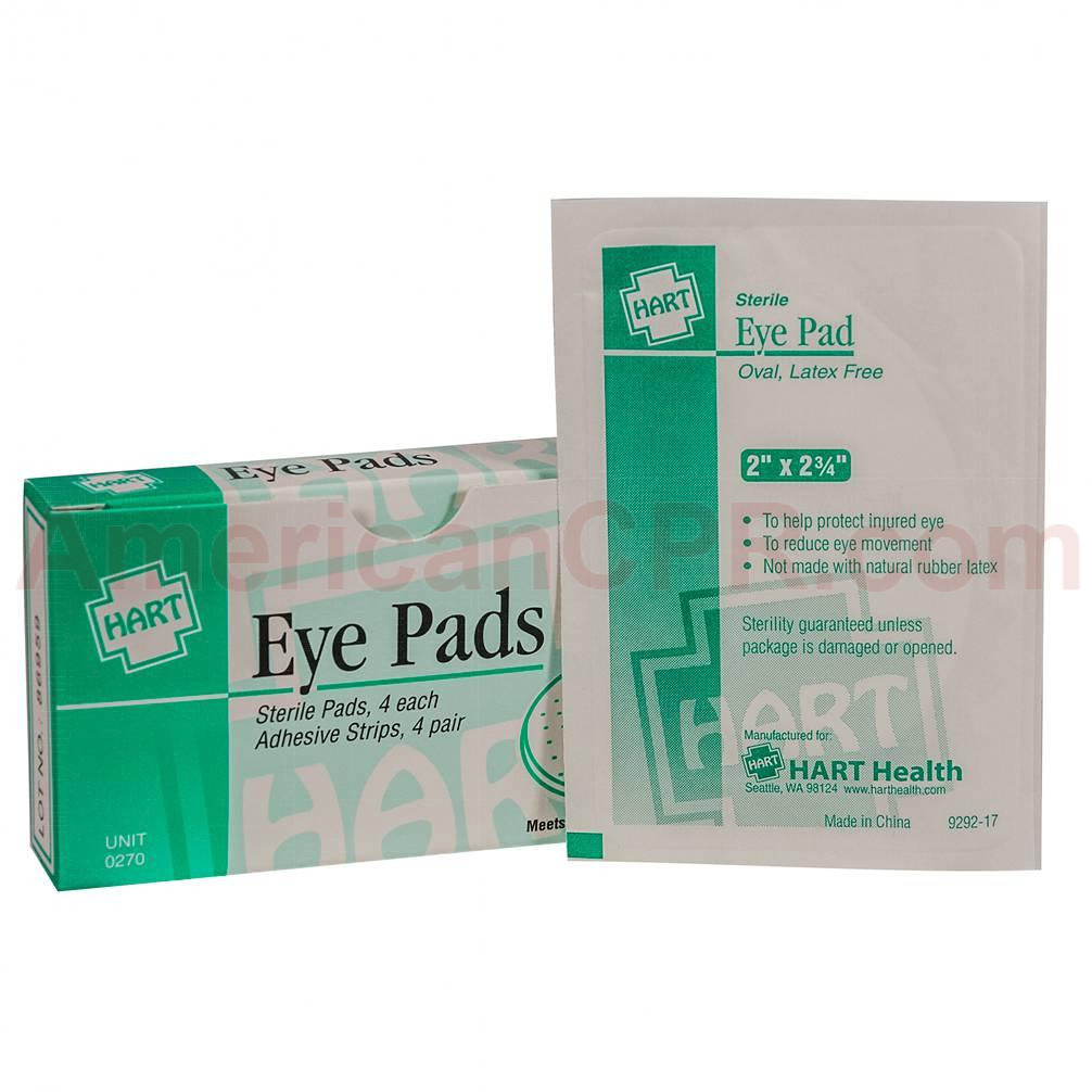 Eye Pads with Adhesive Strips, 4 Per Box, Hart Health