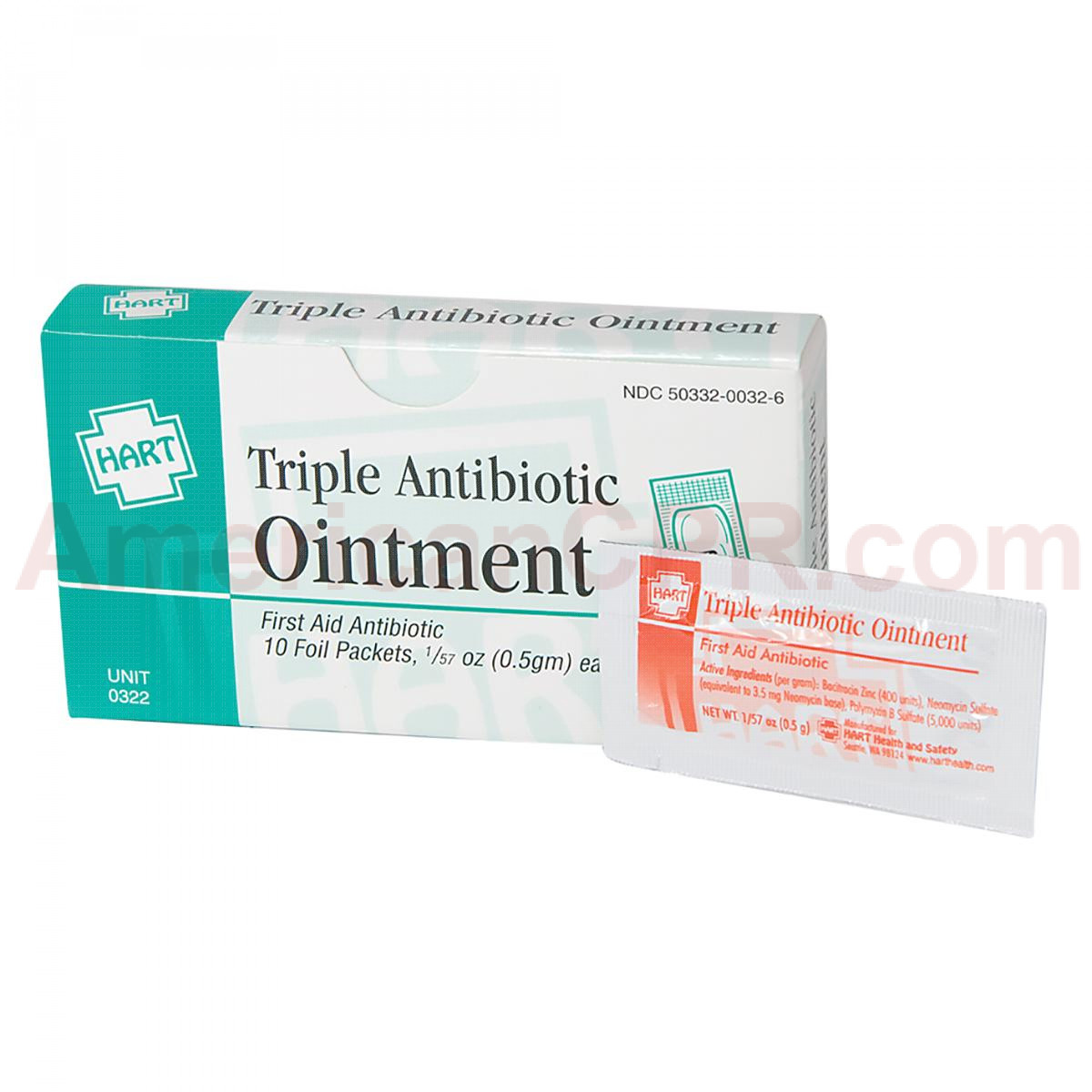 Triple Antibiotic Ointment, 10 per box, .5gm, Hart Health