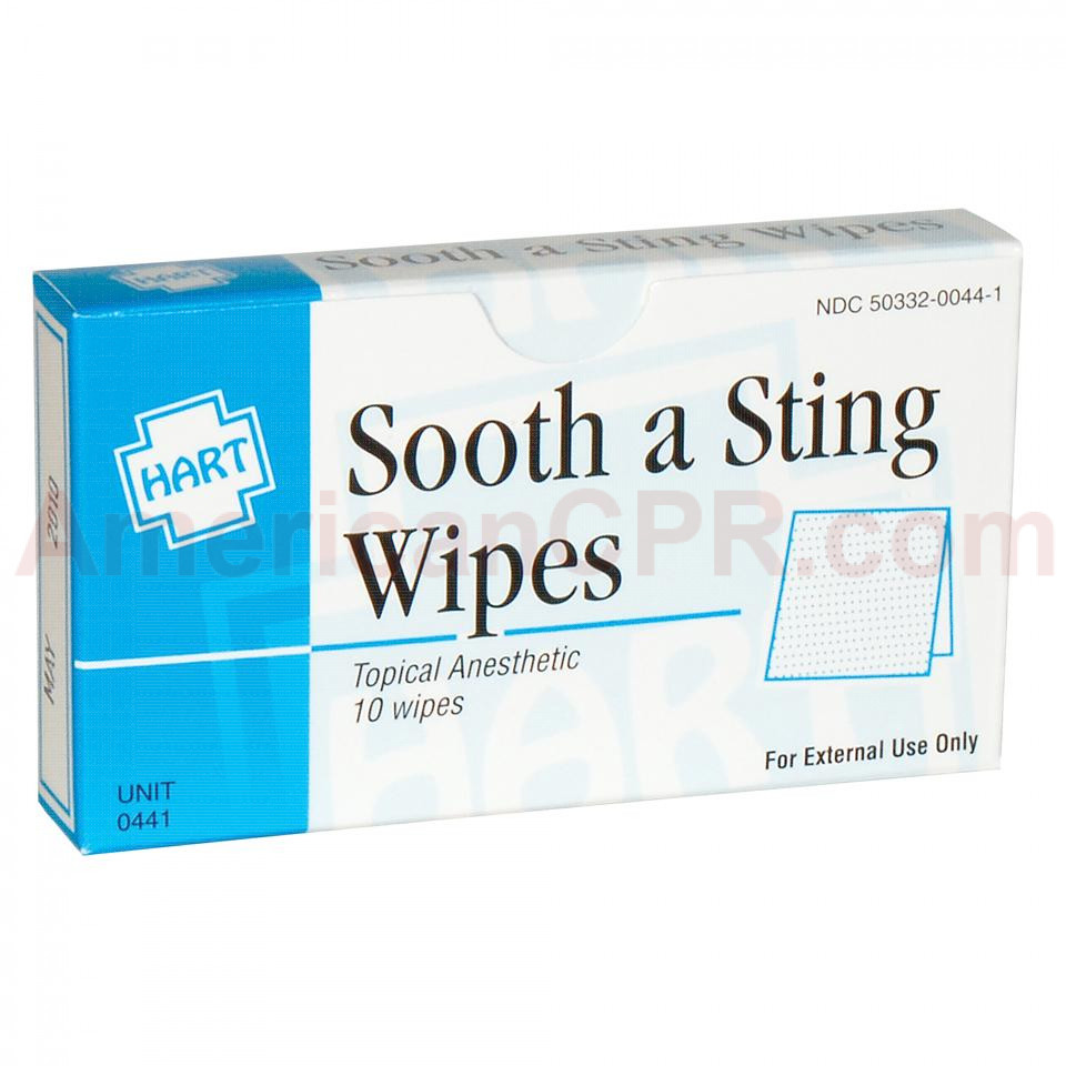 Sting & Bite Relief Wipes, 10 per box, Hart Health
