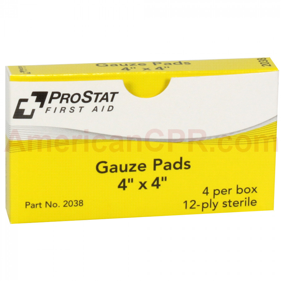 "4"" x 4"" Sterile Gauze Pads, 4 Per Box, Prostat First Aid"