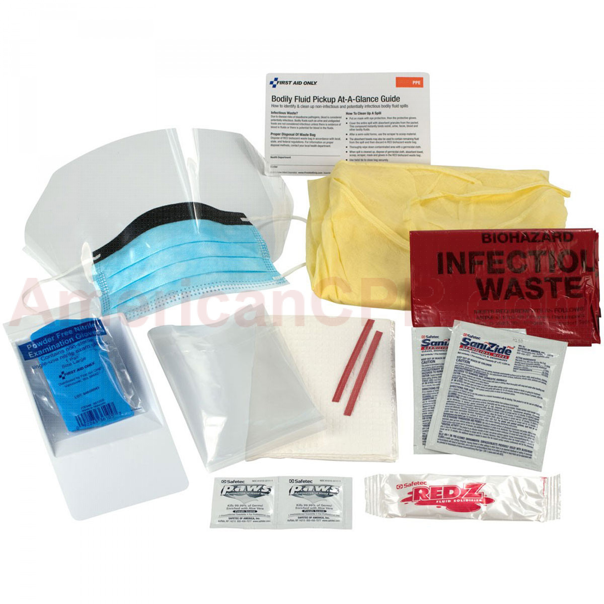 16 Piece Bodily Fluid Clean Up Pack - First Aid Only