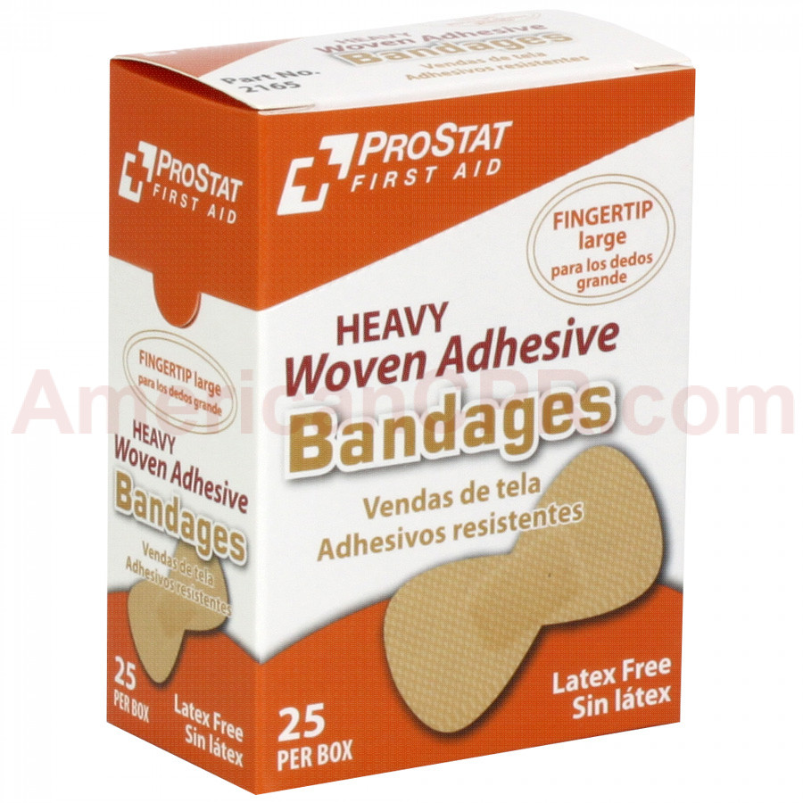Fingertip Woven Adhesive Bandages, 25 Per Box, Prostat First Aid