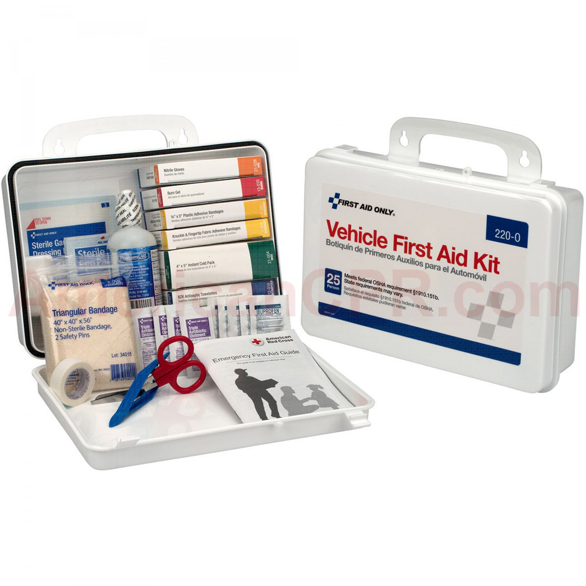 Vehicle First Aid Kit - 94 Pieces - Plastic Case w/ Gasket - First Aid Only