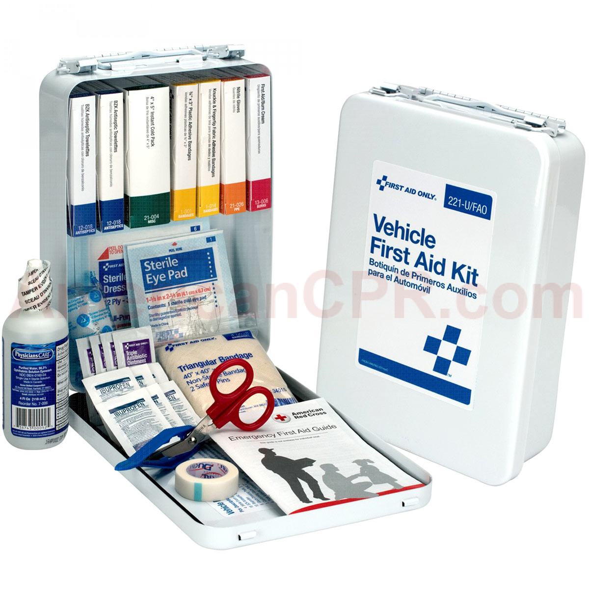 Vehicle First Aid Kit - 94 Pieces - Metal Case - First Aid Only