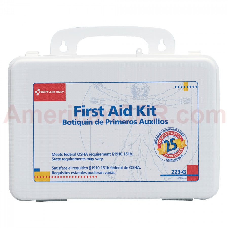 25 Person Bulk First Aid Kit w/ Gasket - Plastic Case - First Aid Only
