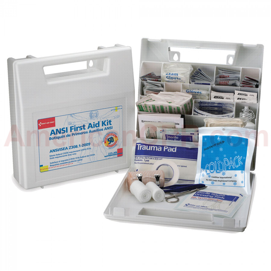 50 Person Bulk First Aid Kit - Plastic Case w/ Dividers - First Aid Only