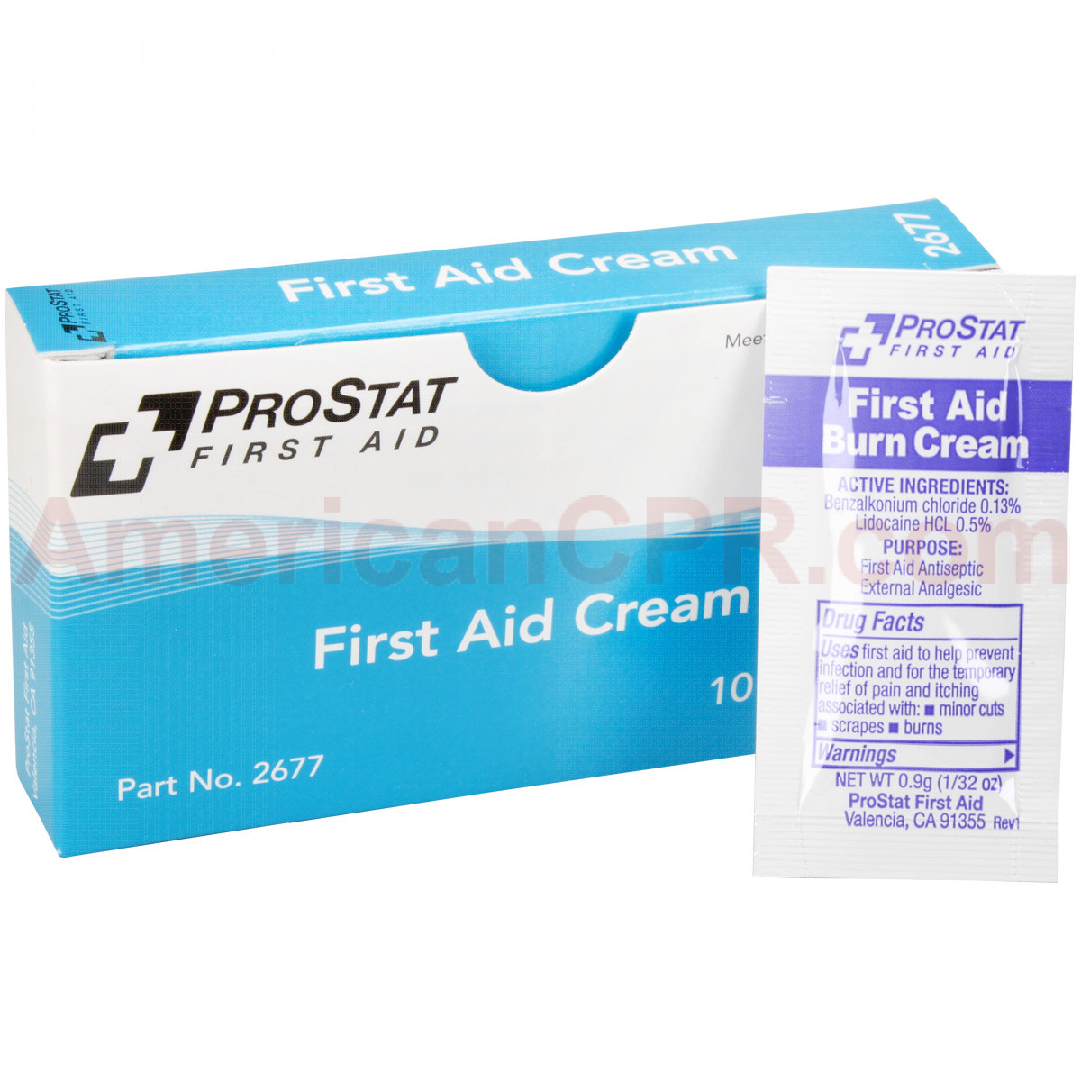 First Aid Burn Cream, 0.9gm, 10 packets per box, Prostat First Aid