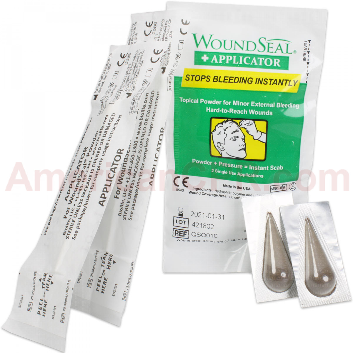 WoundSeal pack includes topical powder for minor external bleeding hard-to-reach wounds