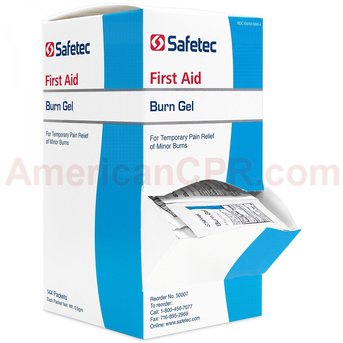 Front view of 144 box of Burn Gel packets for cooling and soothing damaged skin. Image displays perforated dispenser for easy access.