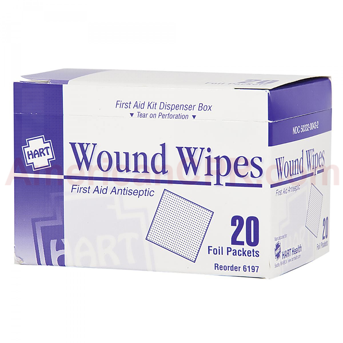 Antiseptic Wipes, 20 Per Box, Hart Health
