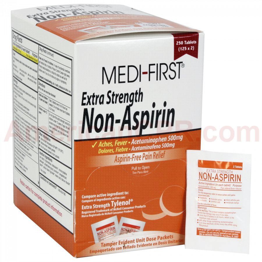 Non-Aspirin Extra Strength, 250/box, Medi-First