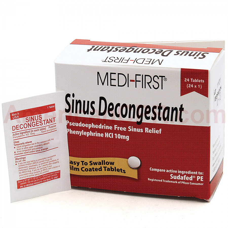 Sinus Decongestant, 24/box, Medi-First
