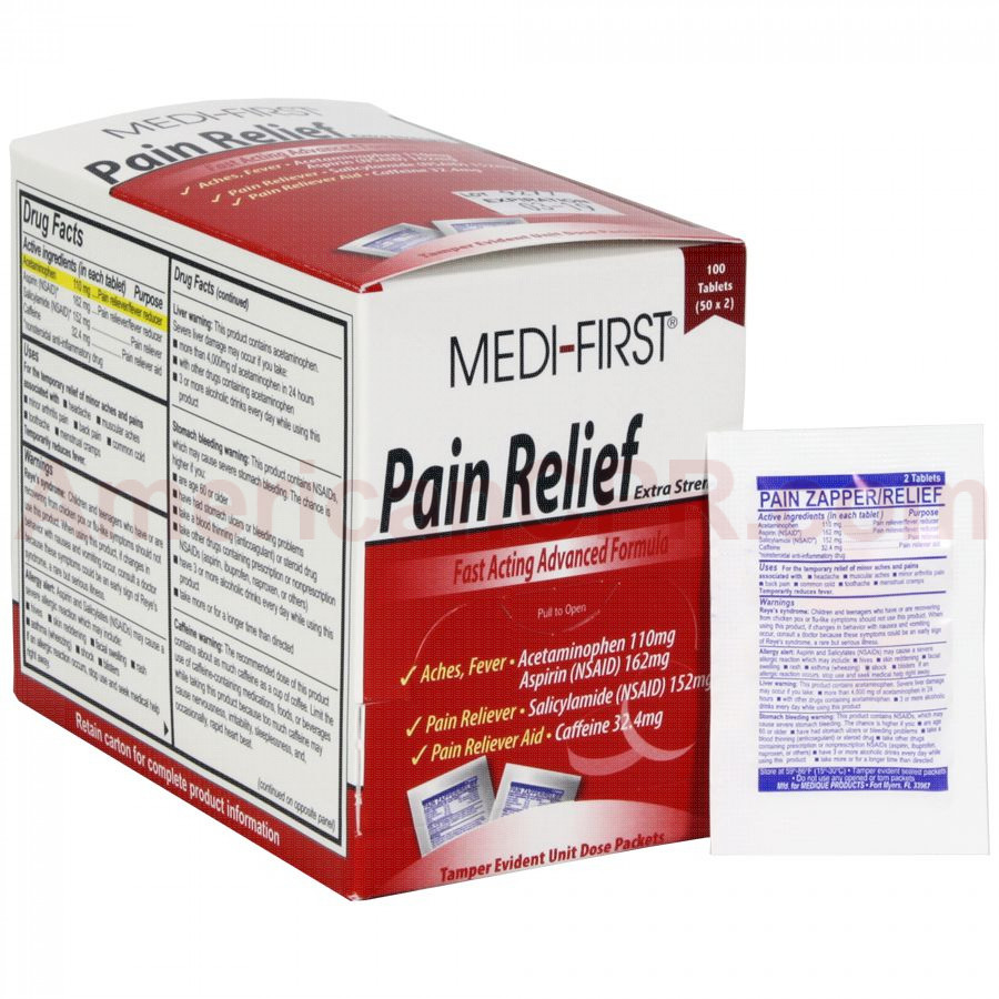 Pain Relief, 100/box, Medi-First