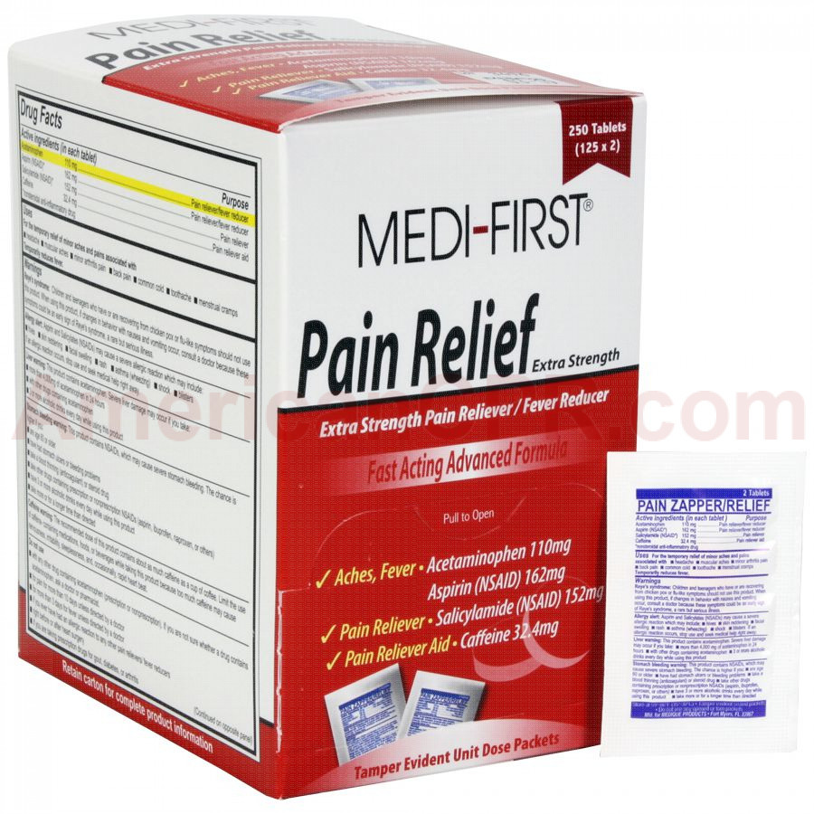 Pain Relief, 250/box, Medi-First