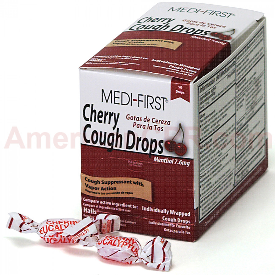 Cherry Cough Drops, 50/box, Medi-First