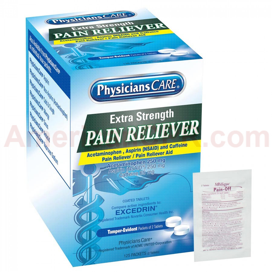 Extra-Strength Pain Reliever Tablets - 250 Per Box - PhysiciansCare