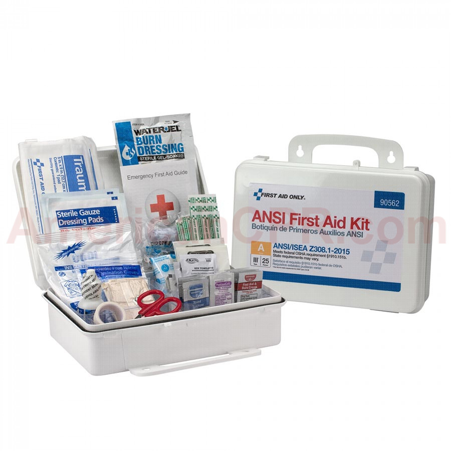 25 Person First Aid Kit, ANSI A,  Plastic Case -  First Aid Only