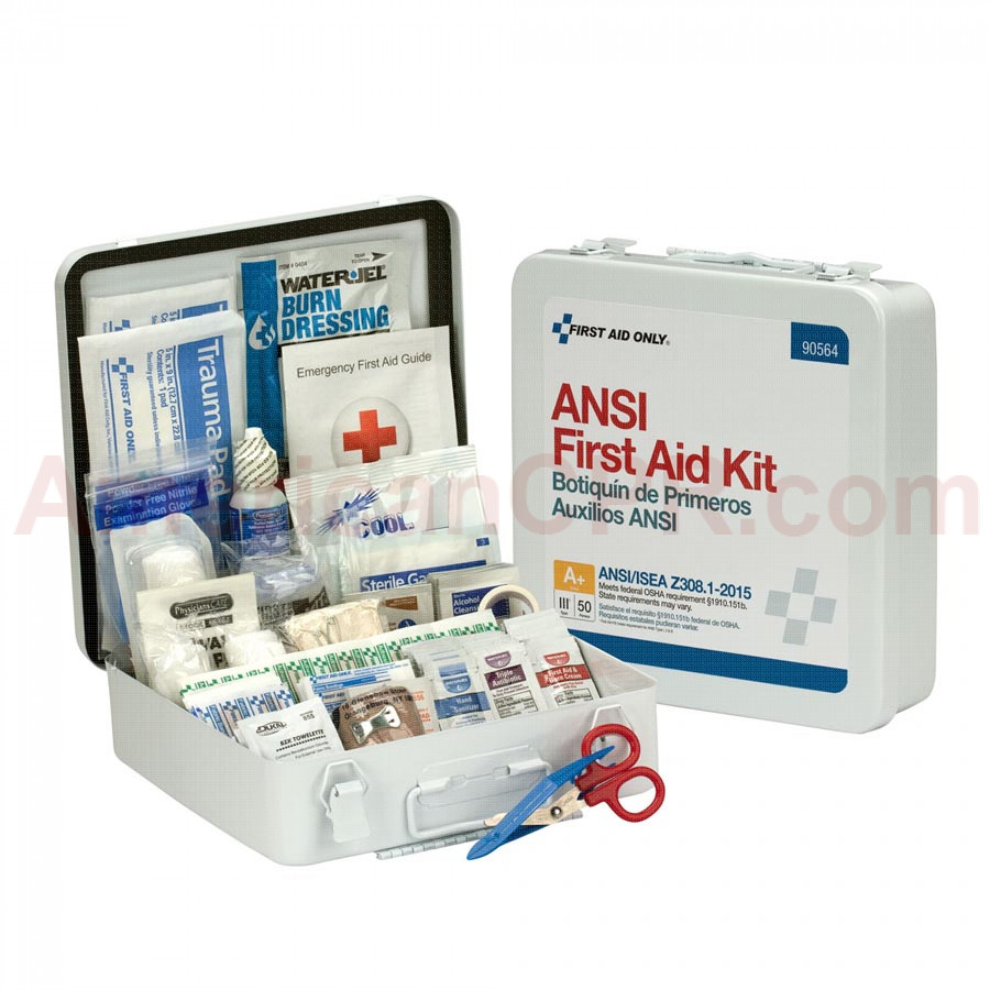 50 Person First Aid Kit, ANSI A+,  Metal Case -  First Aid Only