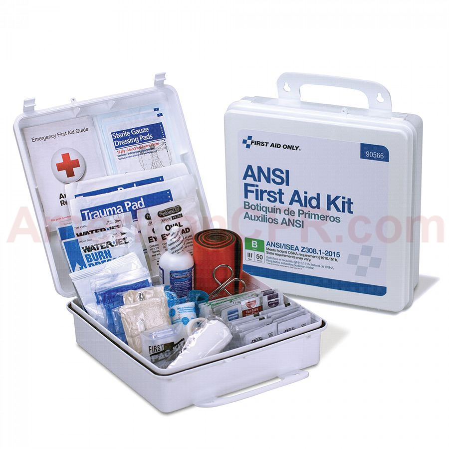 50 Person First Aid Kit, ANSI B, Plastic Case, Weatherproof -  First Aid Only
