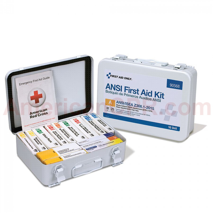16 Unit First Aid Kit, ANSI A,  Metal Case -  First Aid Only