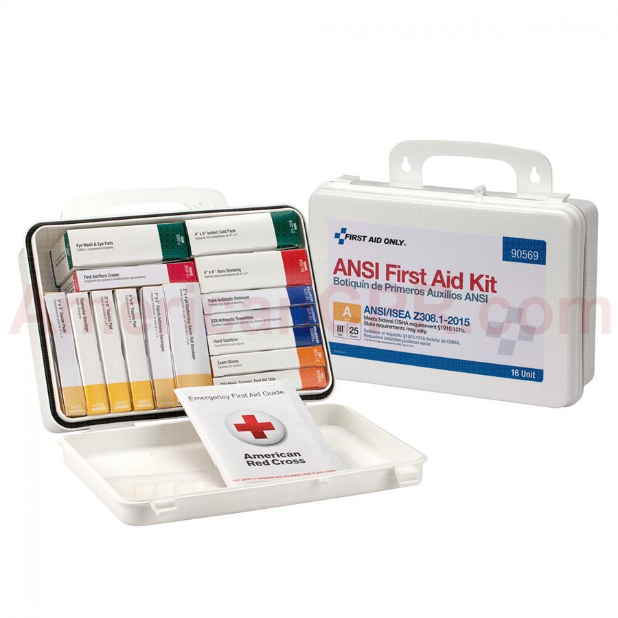 16 Unit First Aid Kit, ANSI A,  Plastic Case -  First Aid Only