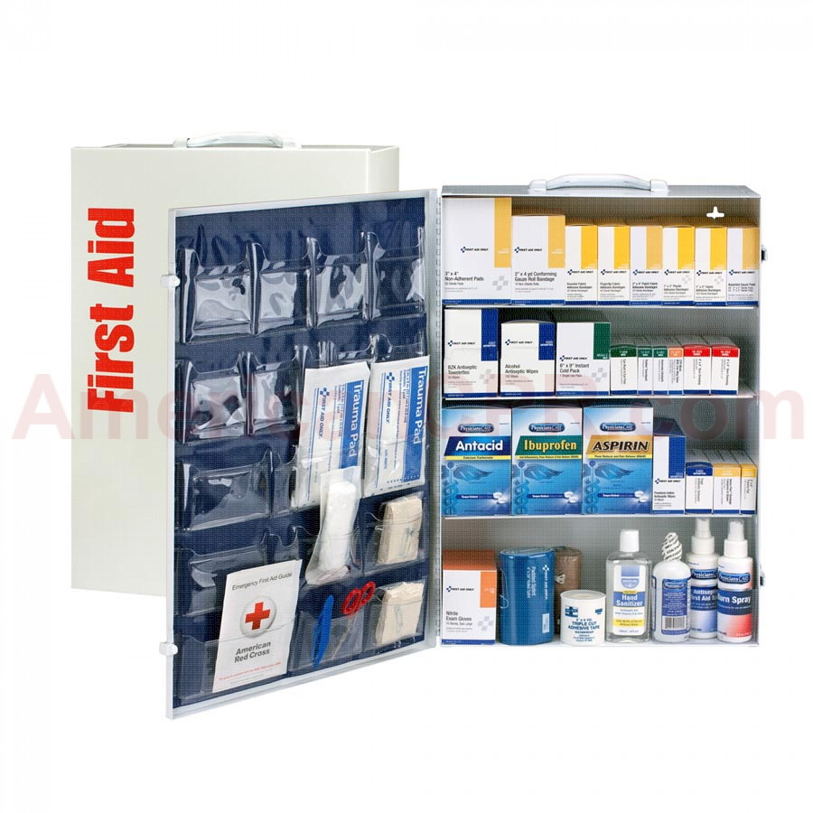4 Shelf First Aid ANSI B+ Metal Cabinet, with Meds -  First Aid Only