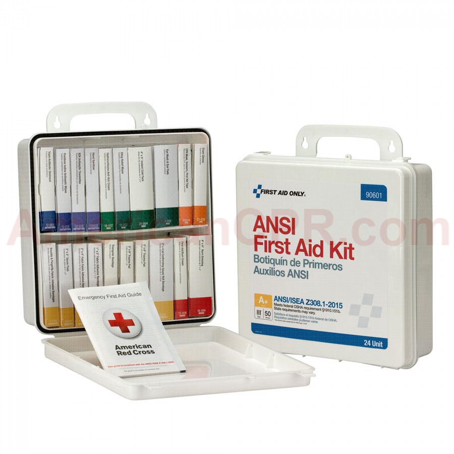 24 Unit First Aid Kit, ANSI A+,  Plastic Case -  First Aid Only
