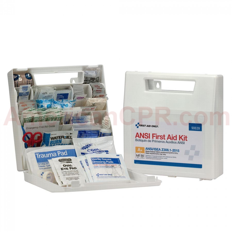 50 Person First Aid Kit, ANSI A+, Plastic Case with Dividers -  First Aid Only