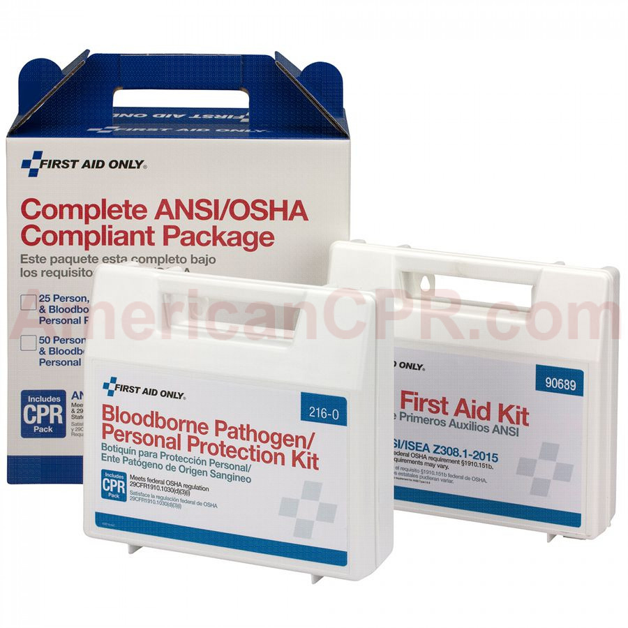 50 Person Complete ANSI/OSHA Compliance Package (First Aid and BBP) -  First Aid Only