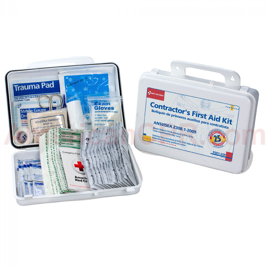 Bilingual Contractor's First Aid Kit, 25 Person, Plastic - First Aid Only