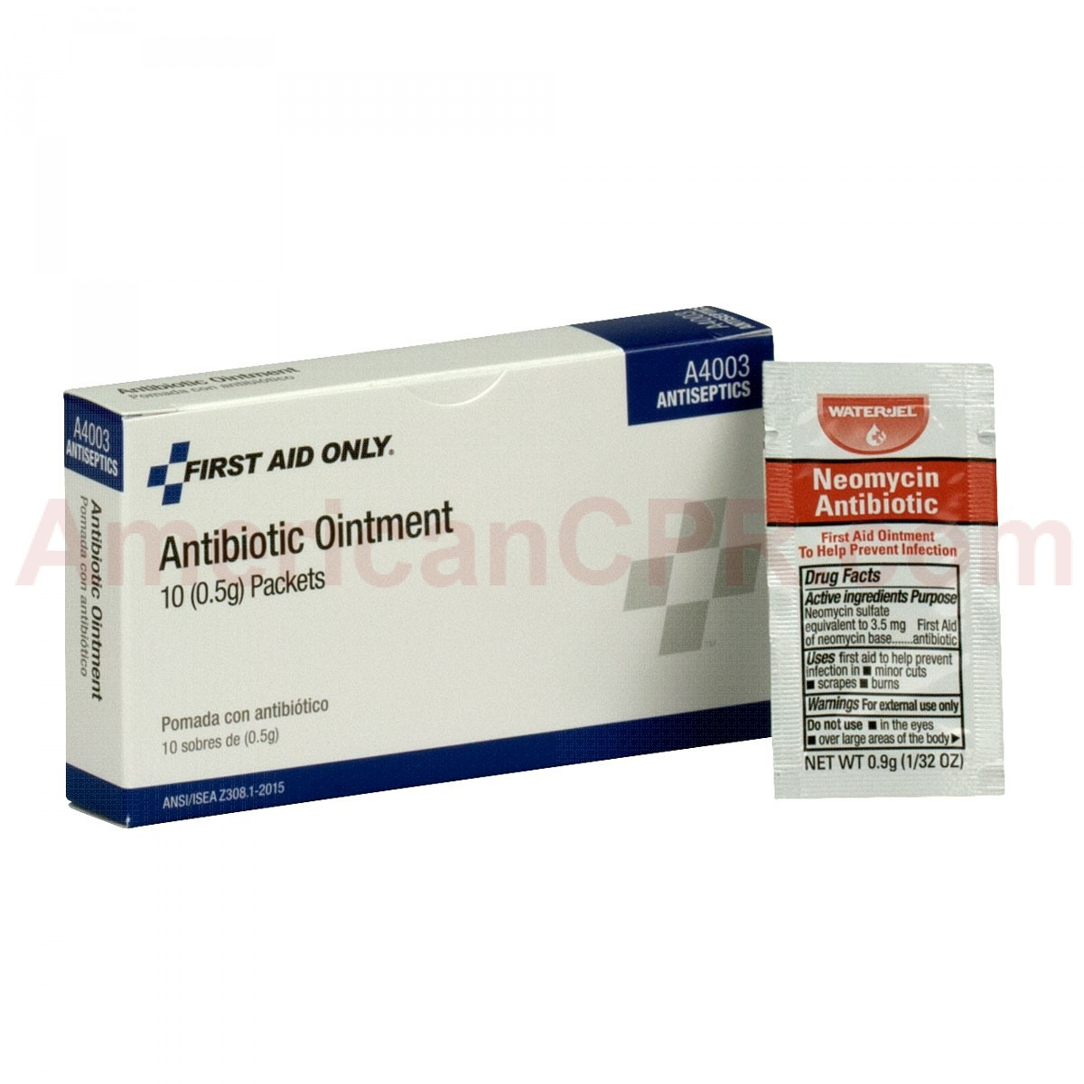 Neomycin antibiotic 10 packet box with first aid ointment packet beside the box