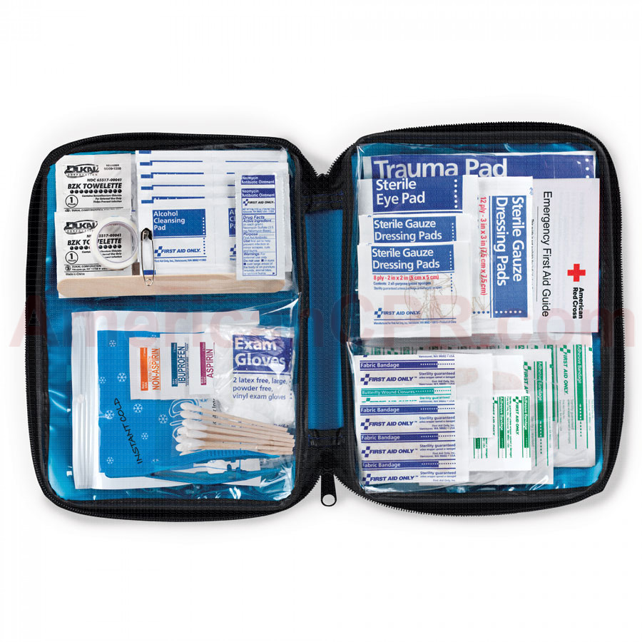 All Purpose First Aid Kit, Softsided, 131 Pieces - Medium - First Aid Only