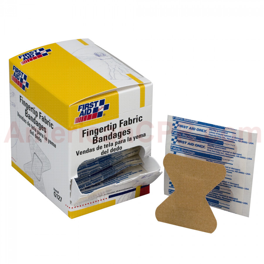 Fingertip Bandage, Fabric - 100 Per Box - First Aid Only