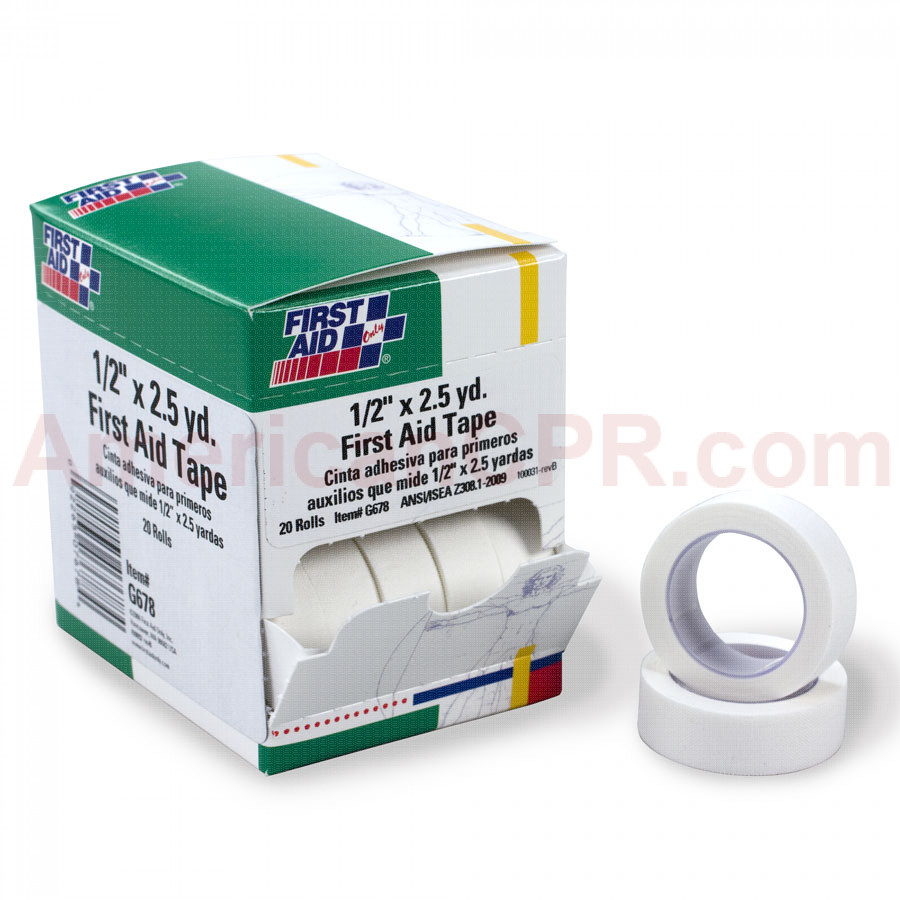 "First Aid Tape - 1/2"" x 2.5 yd. - 20 Per Box - First Aid Only"