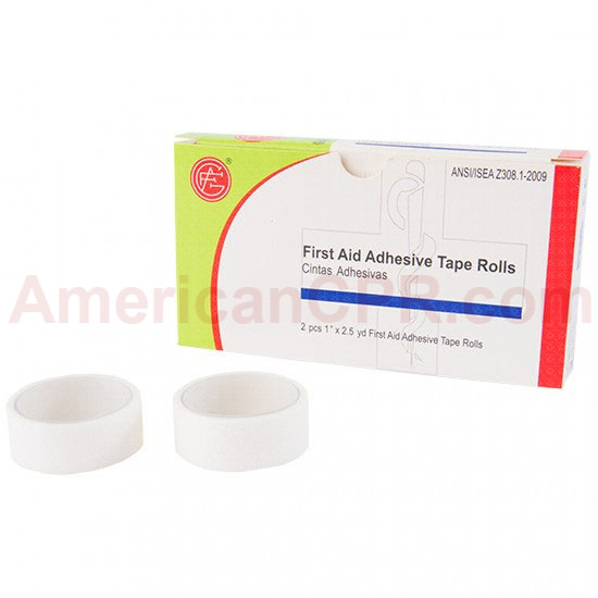 "1/2"" x 2.5 yd. First Aid Adhesive Tape Roll - 2 Rolls Per Box - Genuine First Aid"