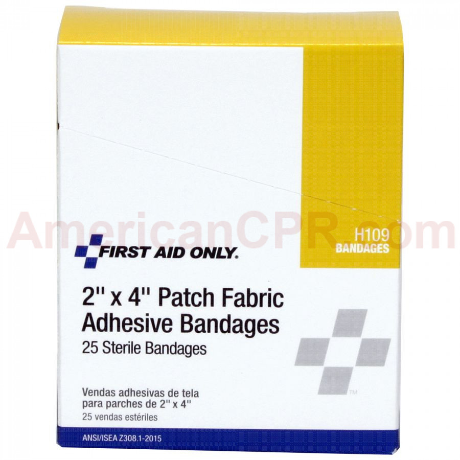 "2""x4"" Patch Fabric Adhesive Bandage, 25 Per Box - First Aid Only"