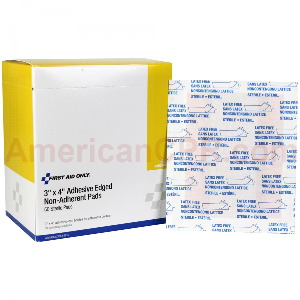"""Non-Stick Pad w/ Adhesive 3""""x4"""" - 50 Per Box - First Aid Only"""