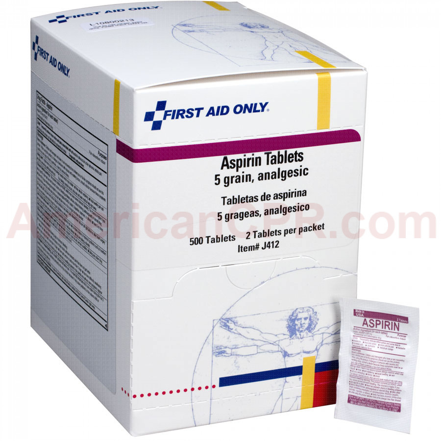 Aspirin Tablets - 5 Grain - 500 Per Box - First Aid Only