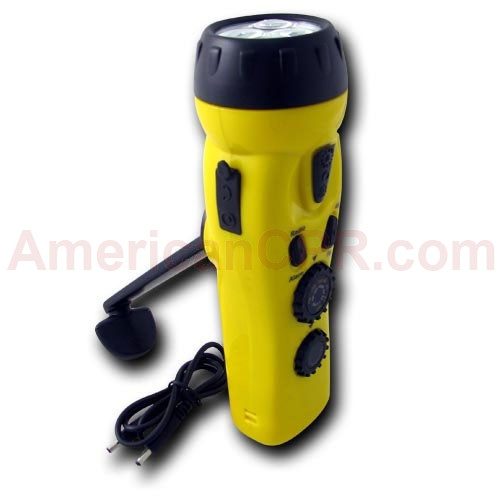 4 n 1 Dynamo 3 LED Flashlight w/ Phone Charger - Mayday