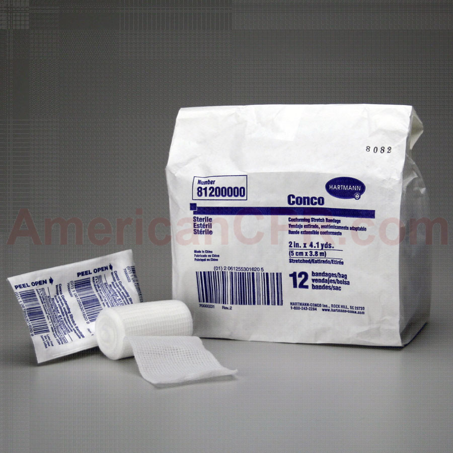 "Conforming Gauze Roll Bandage, Sterile 2"" - 12 Per Bag - Value Brand"