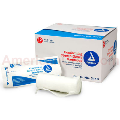 "Conforming Gauze Roll Bandage, Sterile 3"" - 12 Per Bag - Value Brand"