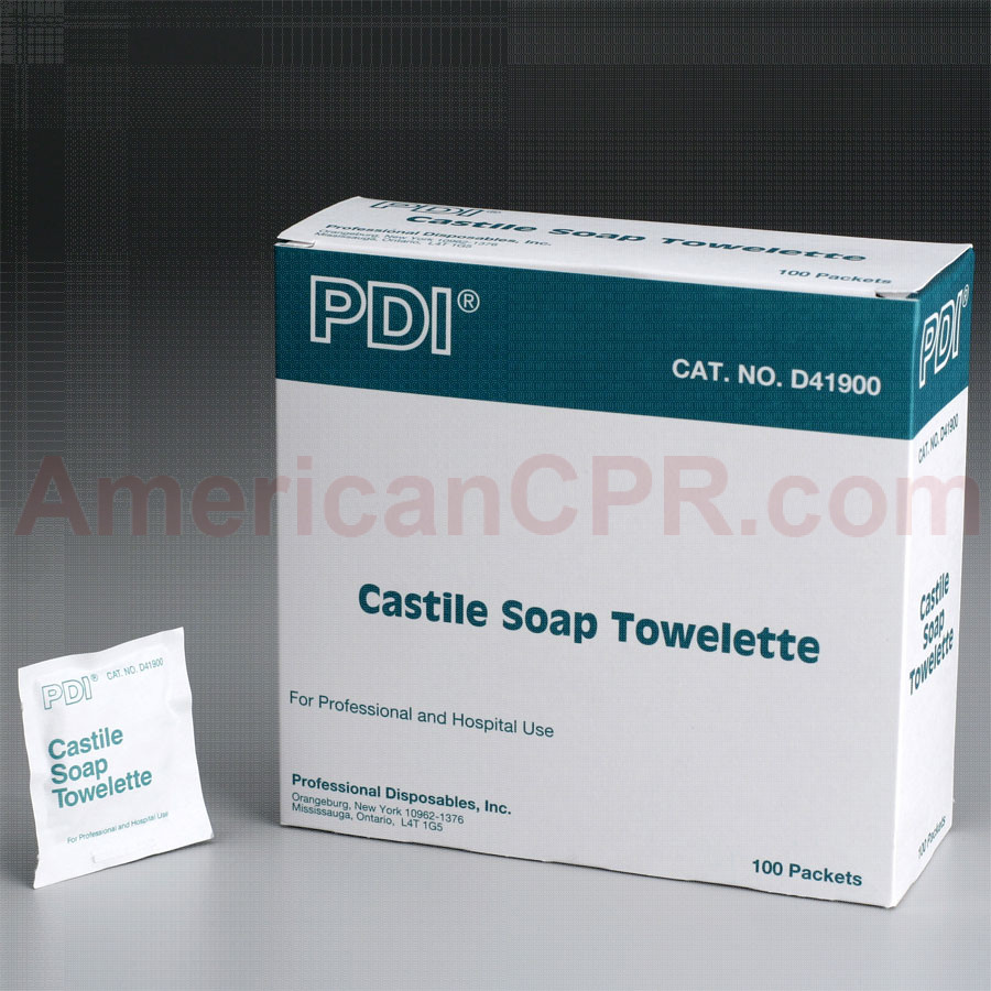 "Castile Soap Towelette, 5""x7"" - 100 Per Box - PDI"