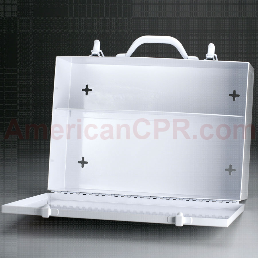 Empty Metal Industrial Cabinet Swing Door - 2 Shelf - First Aid Only