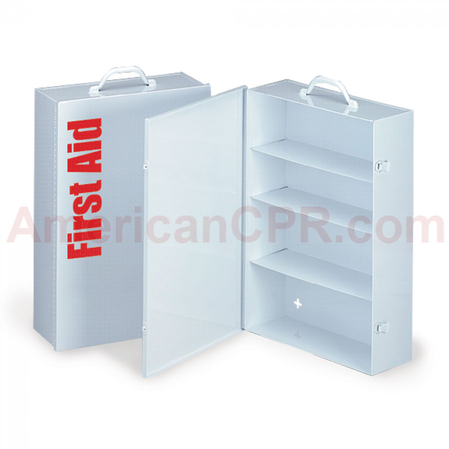 Empty Metal Industrial Cabinet Swing Out Door - 4 Shelf - First Aid Only
