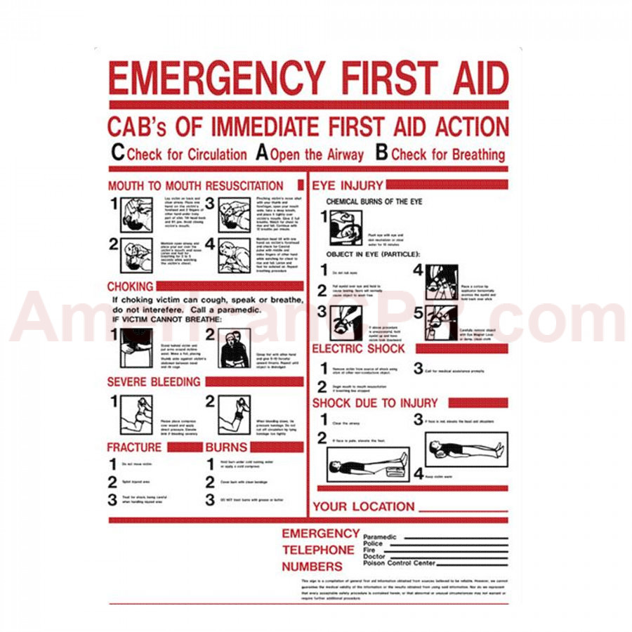 "First Aid Sign - ""ABC's of First Aid"" - Plastic - Value Brand"
