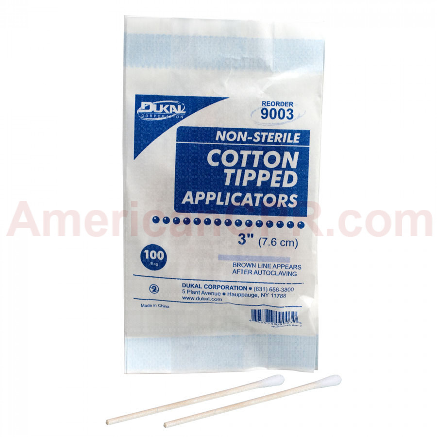 "Cotton Tipped Applicator - Non-Sterile - 3"" - 100 Per Pack - Dukal"