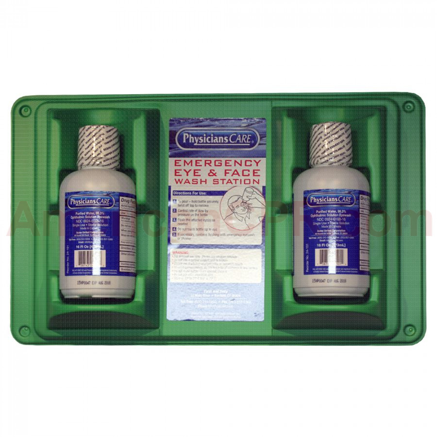Double Eye Wash Station w/ TWO 16 oz. Plastic Bottles - First Aid Only