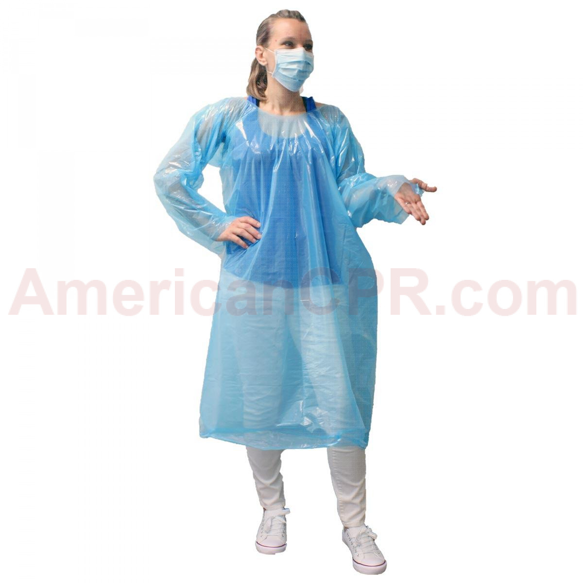 Economy, One Time Use, Disposable Gown with Thumb Hooks, Individually Bagged, Blue, 1 Each, URG