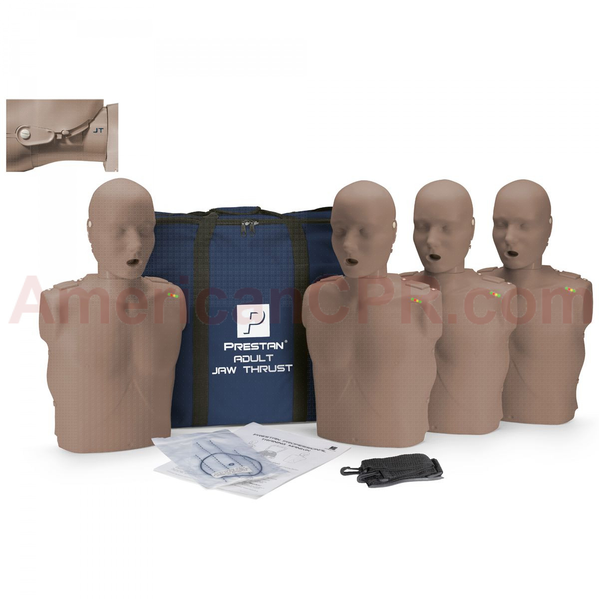 Prestan Adult Jaw Thrust CPR Manikin w/ CPR Monitor - 4 Pack - Dark Skin - Prestan Products